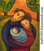 An illustration of a family embracing