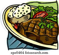 Drawing of a steak platter
