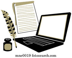 A laptop computer, a notepad, a quill and inkwell