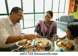 Family of three having a meal at home