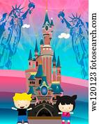 Children in an entertainment park, Disneyland Theme Park, USA