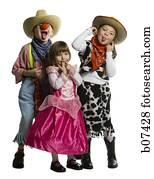 drei kinder, angekleidet, in, westliche, kostüme