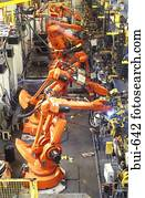 Robotic Arms Working on Production Line
