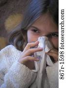 nose, girl, cold, tissue, health, blowing, child