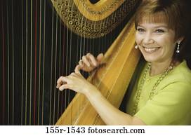woman, smiling, playing, music, arts, entertainment