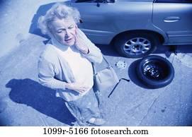 people, woman, senior, car, problem, stress, fear