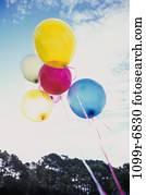 sky, party, celebration, balloons, birthday, bright