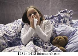 bed, stuffed animal, girl, cold, tissue, health