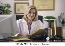 desk, woman, lamp, computer, doctor, chart, medicine