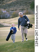 people, walking, golf, outdoors, family, golfing, grandfather