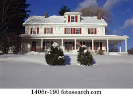 snow, home, exterior, winter, cold, residential