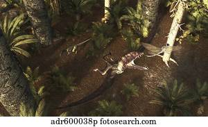 A Dimorphodon pterosaur chasing an insect.