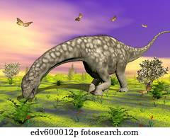 Argentinosaurus eating plants while surrounded by butterflies and flowers.