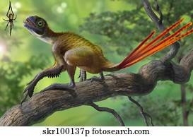 Epidexipteryx perched on a branch ready to eat a nearby spider.