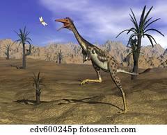 Mononykus dinosaur chasing a dragonfly in the desert.