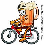 Beer mug riding bike