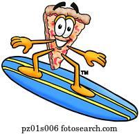 pizza, surfen
