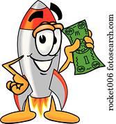 rakete, mit, geld
