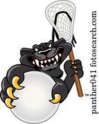 Panther playing Lacrosse