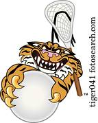 Tiger playing Lacrosse