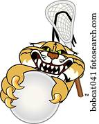Bobcat playing Lacrosse