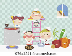 abbildung, von, kinder, kochende, in, kueche