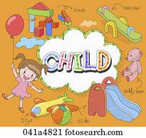abbildung, von, kinder, spielender, güter
