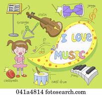 abbildung, von, musikinstrumente_