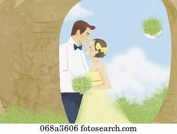 abbildung, von, neu, heiraten