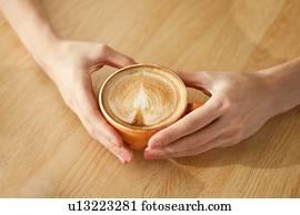 Muster, bohnenkaffee, nahaufnahme, von, tassen, von