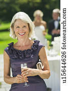 Portrait of mother of bride at wedding reception