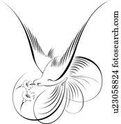 Calligraphic, abbildung, von, bird, fliegt, und, blumen