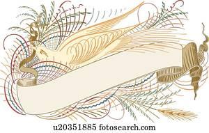 Calligraphic, design, von, bird, fliegt, mit, weizen, und, spruchbaender