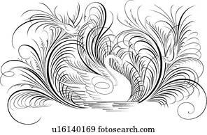 Calligraphic, design, von, schleppen, v?gel, aufpassen, a, schwan, in, wasser