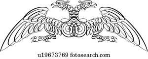 Calligraphic, design, von, zwei, verschlungen, v?gel