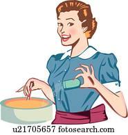 glücklich, früher, frau, kochende