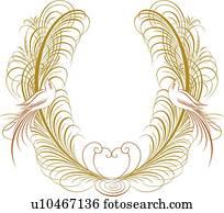 gold, Calligraphic, design, mit, zwei v?gel