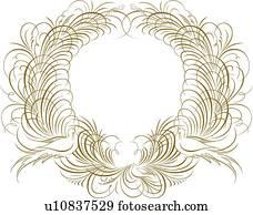 gold, kreisrunder, Calligraphic, design, mit, v?gel