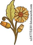grün, braun, und, braune, floral entwurf, verziehrung