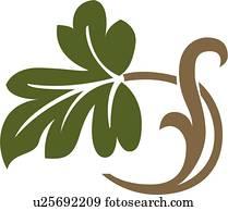 grün, eichenblatt, abbildung, mit, braun, stamm, und, blatt