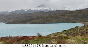 Lake Pehoe With the Paine Mountain Range in the Background