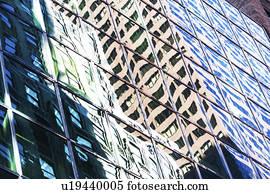 Banque de photo usa new york jardin hiver reflété dans verre
