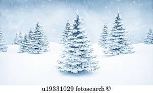 winterlandschaft, und, tannen, abbildung