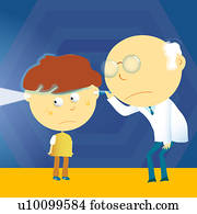 Male doctor looking through a boy's ears with a flashlight