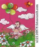 baby, engelchen, junge, mit, luftballone