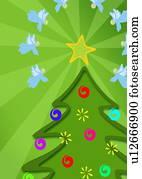 dekoriert, weihnachtsbaum, mit, engelbilder, fliegen, ungef?hr, ihm