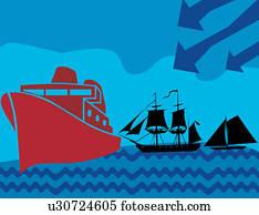 schiff, und, segelboot, mit, wellen, und, pfeil