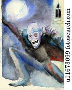 vampir, ghoul, heraus, in, dass, vollmond