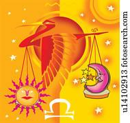 waage, astrologisches zeichen, mit, skala, und, vogel