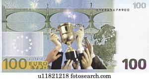 sieg, becher, auf, a, 100, euroschein